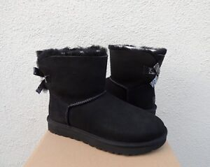 512106881cd Details about UGG BLACK MINI BAILEY BOW II EXOTIC SHEEPSKIN BOOTS, WOMEN US  11/ EUR 42 ~NIB