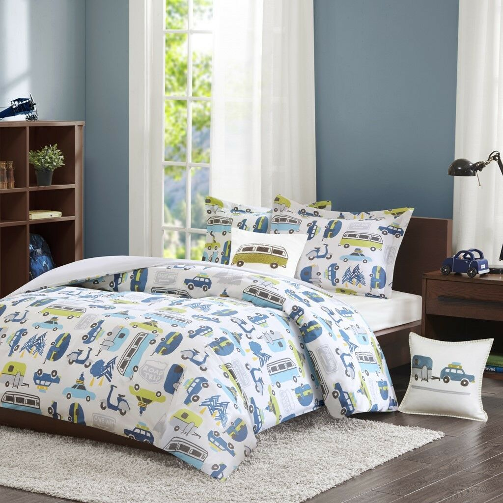 Road Trip Kids Twin Size 3pc Comforter Set in bluee, Green and White Car Prints