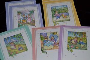 Vtg-Mixed-Lot-of-8-Greeting-Cards-BOY-GIRL-BUNNY-SPRING-Artist-BJS-from-ADR