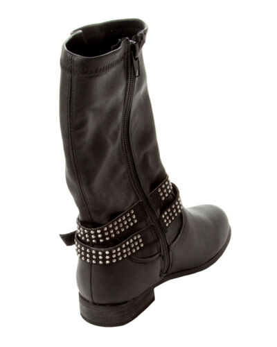 GIRLS BLACK DIAMANTE STUDDED SIDE ZIP MID CALF RIDING BOOTS KIDS UK SIZE 10-4