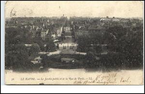 Le-Havre-France-CPA-1903-le-jardin-public-et-la-Rue-de-Paris-Park-Strassenpartie