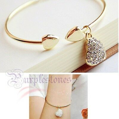 Simple Style Gold Silver Love Heart Rhinestone Pendant Open Bangle Bracelet Girl