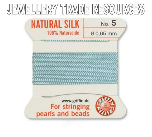 TURQUOISE SILK STRING THREAD 1.05mm STRINGING PEARLS /& BEADS GRIFFIN SIZE 16
