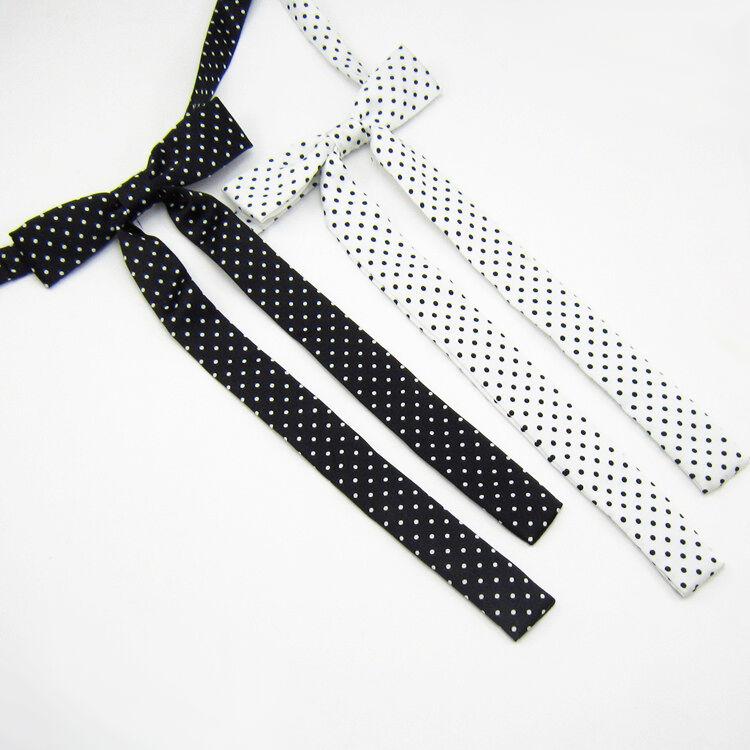 Mujeres larga Boda Banquete Lunares Ajustable Bow Tie Corbata (blanca/negra)