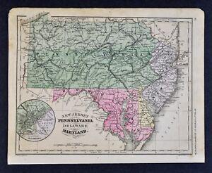 1882 Mcnally Map Pennsylvania New Jersey Maryland Philadelphia