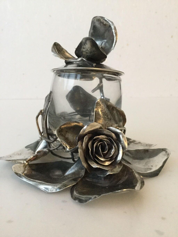 NEUF sans étiquette Zilka 925 Argent fait à la main décorative Rose Fleur Design Sucre Pot Cuillère