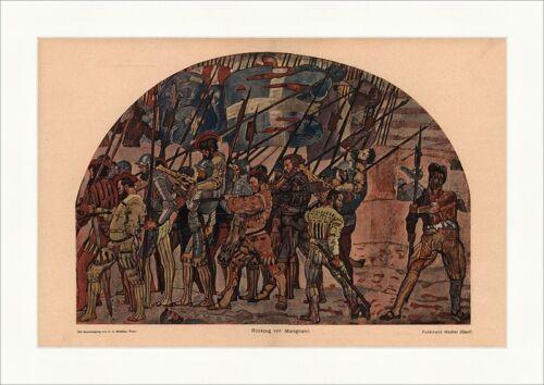 Rückzug von Marignano Ferdinand Hodler Genf Soldaten Speer Rüstung Jugend 2094