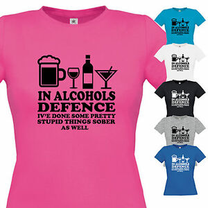 NEW LADIES IN ALCOHOLS DEFENCE T SHIRT GIFT XMAS BIRTHDAY FUNNY