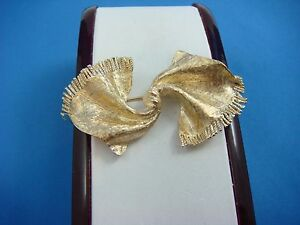 !RARE 14K YELLOW GOLD VINTAGE SCARF-BOW BROOCH,10.4 GRAMS,53 MM OR 2 INCH LONG