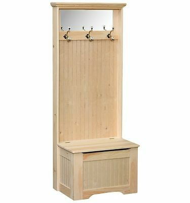 Amish Solid Pine Unfinished Hall Tree Country Seat Bench Shaker Storage Ebay