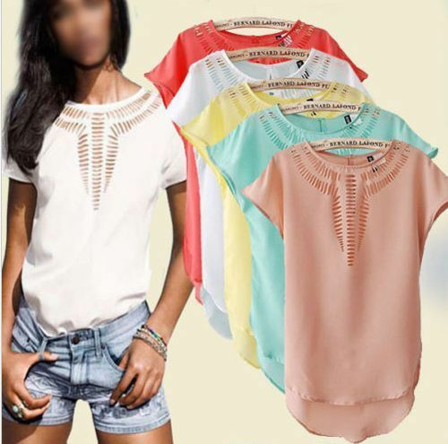 New Women's Casual Chiffon Blouse Short Sleeve Shirt T-shirt Summer Blouse Tops