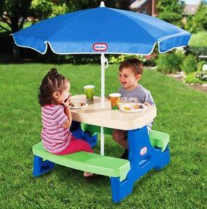 Kids Play Picnic Table Umbrella Outdoor Indoor Portable Children