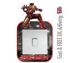 IRON MAN Marvel Avengers Interruttore Della Luce Surround Muro Adesivo Decalcomania