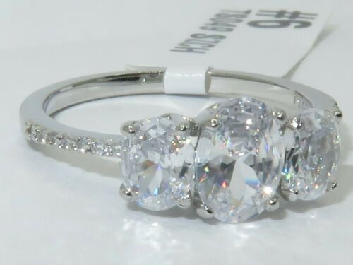 Ladies three stone ring sterling silver oval past present future cz 1.70ct S049
