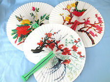 10 CHINESE FLOWER BIRD FOLDING PLEATED PAPER HAND FAN BIRTHDAY JAPANESE PARTY CC