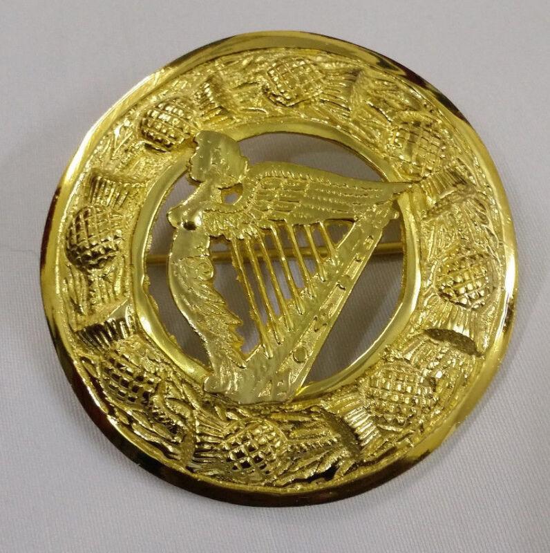 """Ausdrucksvoll Schottisch Kilt Plaid Brosche Keltische Harfe Vergoldet 3 """"/ Highland Pin Bestellungen Sind Willkommen."""