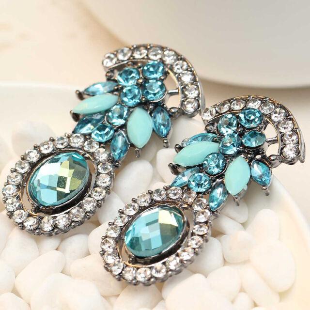 New Handmade women gorgeous bib statement  mixed crystal long Earrings e269