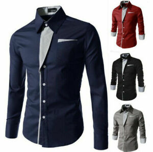 Fashion-Men-039-s-Casual-Shirts-Business-Dress-T-shirt-Long-Sleeve-Slim-Fit-Tops
