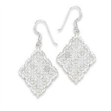 Sterling Silver Diamond-Shaped Filigree Mesh Hook Dangle Earrings Jewelry