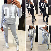 Lady Women Jogging Suit Gym Active Sport Letter Sweatshirt Tracksuits Pullover