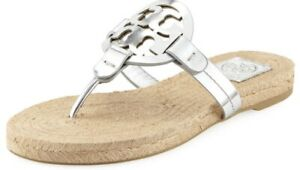 78a4209fb Image is loading Tory-Burch-New-Miller-Silver-Leather-Espadrille-Sandal-