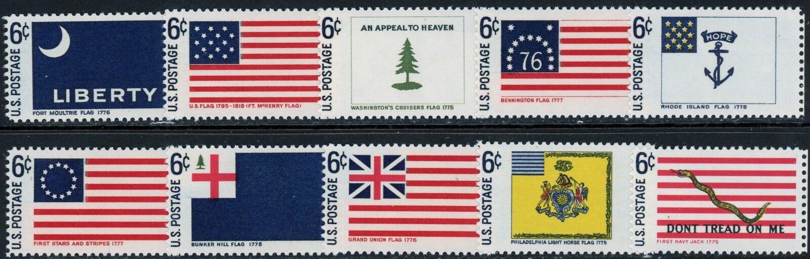 1968 6c Historic American Flags, Set of 10 Singles Scot