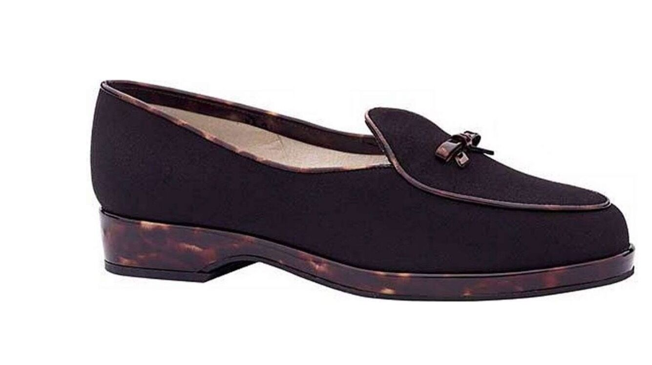 STUART WEITZMAN NEW AUTH  399 Women Black w Tortoise Shell Heel Loafers Size 7 S