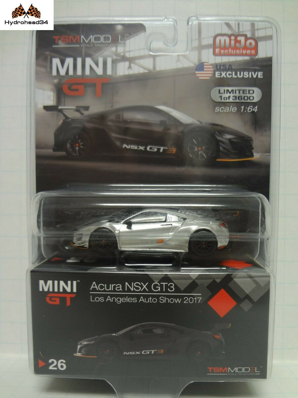 Mini GT Chase Acura NSX GT3 Los Angeles Auto SHow 2017 TSM Model 1 64 Scale READ