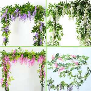 Swell Details About 2M Artificial Wisteria Garland Bedroom Garden Decor Fake Flower Vine Ivy Plants Home Remodeling Inspirations Cosmcuboardxyz