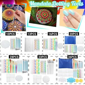 13Pcs Mandala Dotting Tools Set Rock Painting Nail Art Pen Paint Stencil Paint