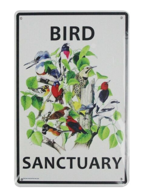 US SELLER, Bird Sanctuary tin metal sign man cave dorm  room metal wall art