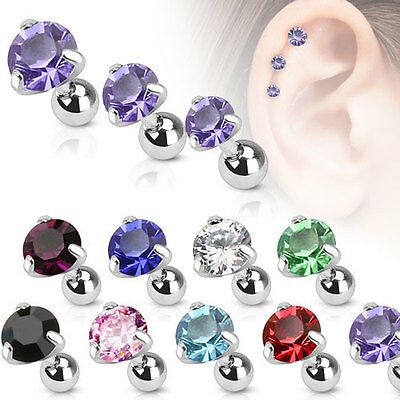 Surgical Steel Pronged Round CZ Tragus/Cartilage Piercing Stud - 3 mm