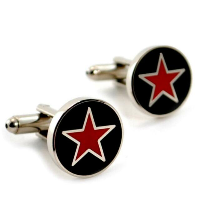 RED STAR CUFFLINKS Black & Silver Metallic NEW w GIFT BAG Pair Men's Accessory