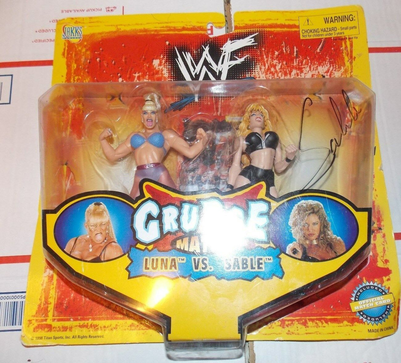 Signed WWE WWF Jakks Grudge Match Luna Vs Sable Action Figure Autographed Mattel
