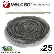 """25 VELCRO Brand Ties Cable Cord Organizer Wraps Reusable Die Cut Straps 8"""" Grey"""