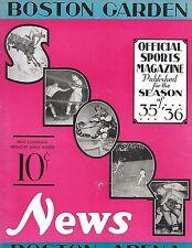 1935-36 Boston Bruins-Rangers Program Rangers Nip B's Last Game NICE!!