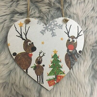 Christmas Decorations Reindeer Family Wooden Hanging Heart Plaque Sparkles Om Een ​​Gevoel Op Gemak En Energiek Te Maken