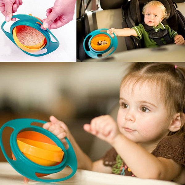 Baby Kid Gyro Feeding Toy Bowl Dishes Non Spill Universal 360 Rotate Technology