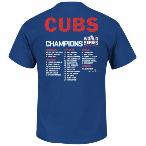 NEW Majestic 2016 Chicago Cubs MLB World Series Champions Roster T Shirt SIZES