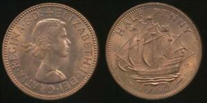 Great-Britain-Kingdom-1962-Halfpenny-1-2d-Elizabeth-II-Uncirculated