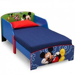 Image Is Loading Wooden Toddler Bed Mickey Mouse Boys Blue Child
