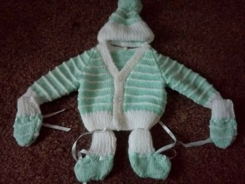 Hand-knitted baby cardigan set