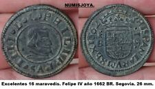 FELIPE IV. Año 1662 BR. 16 Maravedíes Cobre Segovia. Peso 4,29 gr. 26 mm.