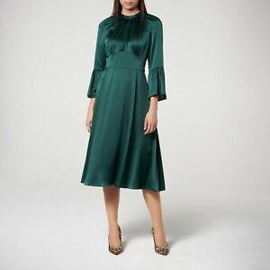 New-LK-Bennett-Green-Sage-Shirred-Silk-Dress-Sz-UK-14-PRP-450