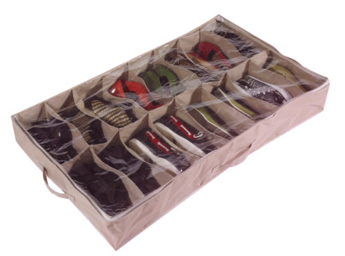 Large Heavy Duty 16 Pocket Underbed Shoe Storage Bag for up to 16 Pairs