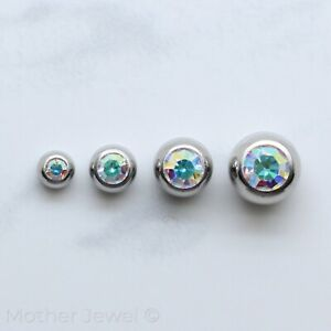 AURORA SIMULATED DIAMOND SILVER 316L SS BELLY HELIX SEPTUM 16G REPLACEMENT BALL