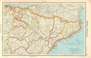 Map Of Spain Navarra.Details About 1952 Map Spain North East Barcelona Tarragona Navarra Soria Teruel