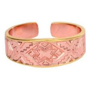 Solid-Copper-Ring-Southwest-Gold-Handmade-Western-Jewelry-Band-Etched-Design