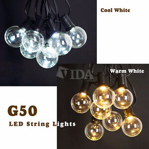 Details About 50 Ft Led Outdoor Globe Patio String Lights 50 Sockets 55 Led Bulbs