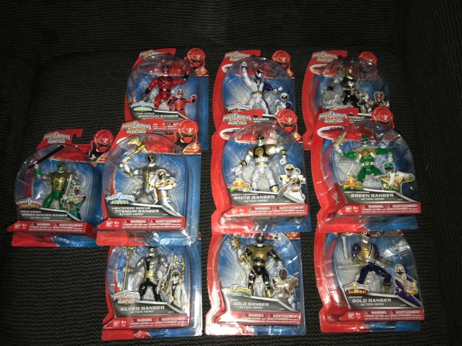 Power Rangers Super MegaForce Six Rangers Lot Grün Weiß Robo Gold Titanium Sam